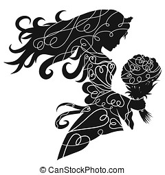 Silhouette of a charming lady in a crown with a bouquet of flowers in her hand