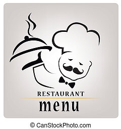 silhouette of a chef with a hot dish composed only by lines with text for menu design