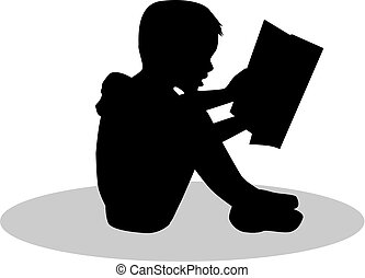 Silhouette of a child reading a book at.