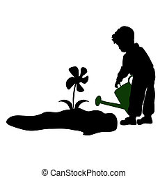 silhouette of a child watering flow