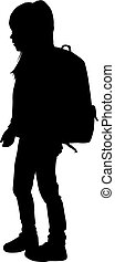 Silhouette of a child with a backpack .