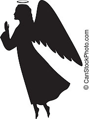 Christmas angel - Silhouette of a Christmas angel in profile...
