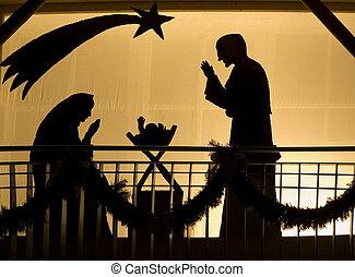 Silhouette of a Christmas Crib