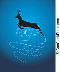 Silhouette of a Christmas deer