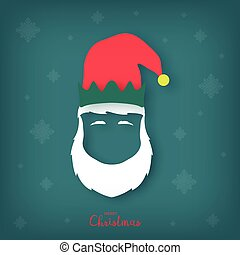 Silhouette of a Christmas elf head with a white beard.