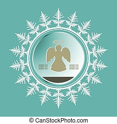 silhouette of a christmas snowflake with an angel inside