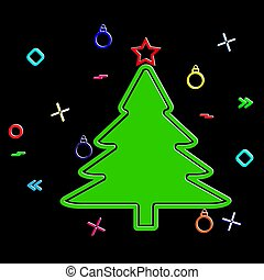 Silhouette of a Christmas tree and festive tinsel on a black background