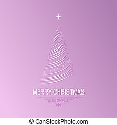 silhouette of a Christmas tree as strips, bends on a light violet background