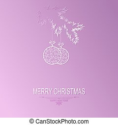 silhouette of a christmas tree branch with balls in retro style on a light violet background
