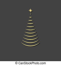 silhouette of a Christmas tree, logo, emblem, symbol, gold glitter shadow. vector illustration.