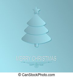 silhouette of a christmas tree on a light blue background