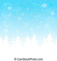 Silhouette of a Christmas tree on the snowflakes bokeh background. Vector EPS10.