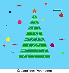 Silhouette of a Christmas tree with festive tinsel