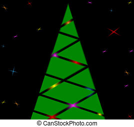Silhouette of a Christmas tree with lights and stars