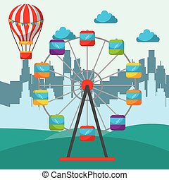 silhouette of a city and amusement circus ferris wheel and hot air balloon