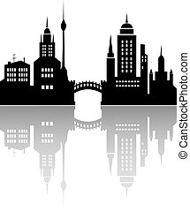 Silhouette of a city with reflection