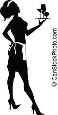 Silhouette of a cocktail waitress - Vector silhouette of a...