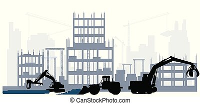 Silhouette of a construction site