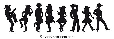 Silhouette of a couple dancing a country western on a white isolated background. All girls and boys are dancing an incendiary American dance. Four funny pairs of people in black. Cowboy hats, boots and dance moves.
