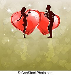 silhouette of a couple in love with two red hearts