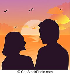 Silhouette of a couple kissing against a sunset sky