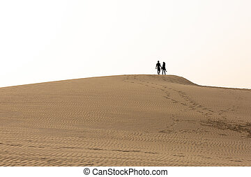 Silhouette of a couple on a dune in the desert
