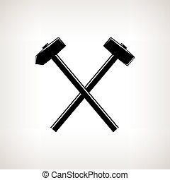 Silhouette of a crossed hammer and sledgehammer on a light...