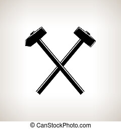 Silhouette of a crossed hammer and sledgehammer on a light background, hand tool with a hard head attached perpendicular to the handle ,black and white illustration