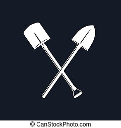 Silhouette of a Crossed Shovel and Spade