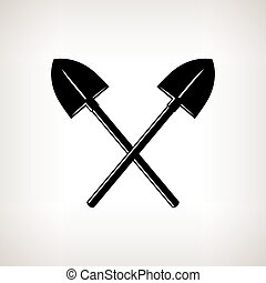 Silhouette of a Crossed Shovels