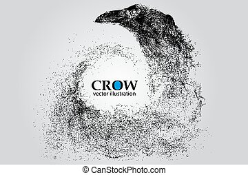 Silhouette of a crow from particles.