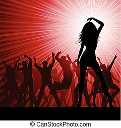 party people - Silhouette of a crowd of party people on a...