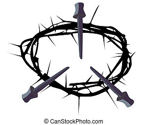 silhouette of a crown of thorns with three nails on a white...