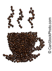 Silhouette of a cup of coffee beans with steam. Isolate on white background.