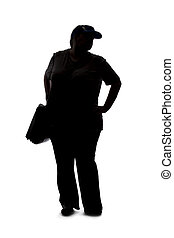 Silhouette of a Curvy Woman Standing and Waiting