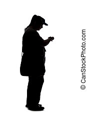 Silhouette of a Curvy Woman Waiting in Line