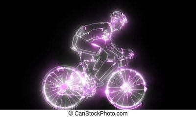 Silhouette of a cyclist male digital animation - Silhouette...