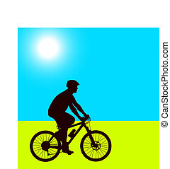 Silhouette of a cyclist male.  vector illustration.