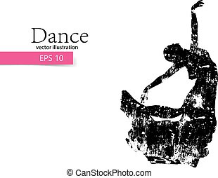 Silhouette of a dancing girl. Dancer woman.