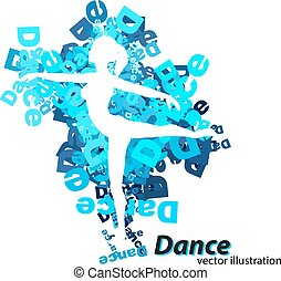 Silhouette of a dancing girl. Background and text on a...