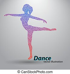 Silhouette of a dancing girl from triangles. Background and...