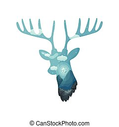 Silhouette of a deer head with a landscape inside. Vector illustration on white background.