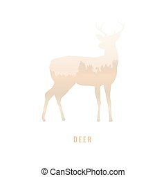 silhouette of a deer Inside the pine forest, bright colors /animal / park / vector illustration on white background. logo, symbol