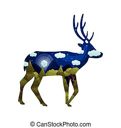 Silhouette of a deer with a landscape inside. Vector illustration on white background.