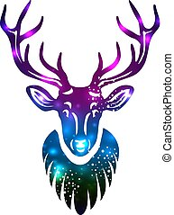 Silhouette of a deer with space galaxy