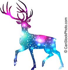 Silhouette of a deer with space galaxy background effect inside