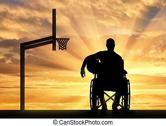 Silhouette of a disabled basketball player in a wheelchair