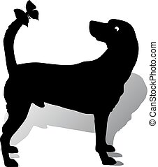 Silhouette of a dog (abstract) on the tail sits a butterfly, cartoon on a white background,