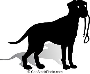 Silhouette of a Dog (Dalmatian) holding a leash, on a white background.