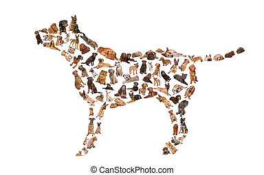 silhouette of a dog made with dog photos